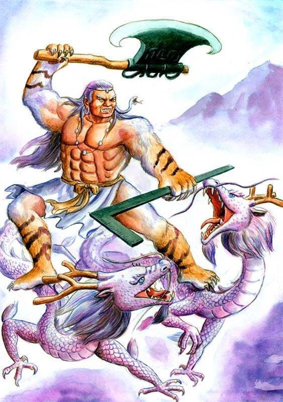 戏命之飞天神猪-蓐收为秋神,左耳有蛇,乘两条龙.是为白帝少昊的辅佐神,有人说蓐