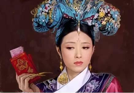 清宫旗头美女手绘图
